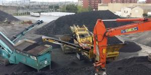 Proceso de cribado de árido siderúrgico